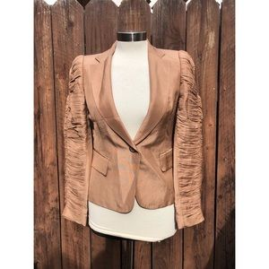 Zara Brown Ruffle Arms Blazer sz Small